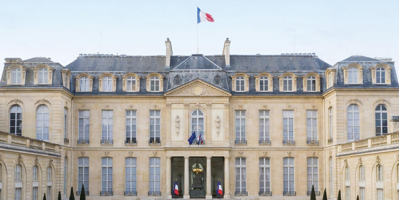 Photo du Palais de l'Elysee, siège de la présidence de la républqiue gfrançaise pour symboliser les réactions politiques à l'affaire Ghosn/ Copyright : elysée