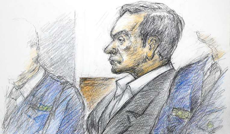Dessin de Carlos Ghosn, le visage emmacié et les traits tirés, au tribunal de Tokyo le 08 janvier 2019. Copyright : Reuters
