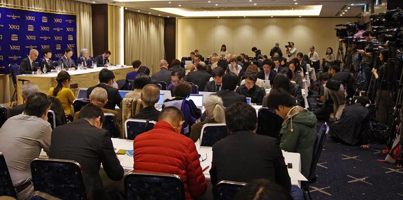 Salle de presse du centre des correspondants de la presse étrangère à Tokyo. Conférence de presse des avocats de Carlos Ghosn le 24 octobre 2019. Crédit photo: ARab News