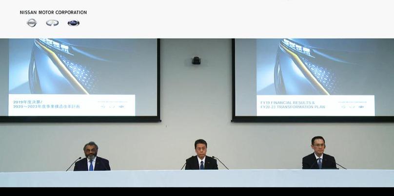 Les dirigeants de Nissan lors de la présentation des résultats financiers de 2019. Copyright: Nissan Motor Company