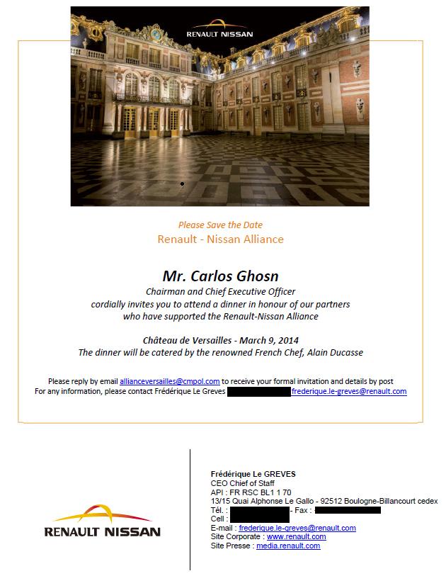 Invitation de Renault Nissan à la soirée des 15 ans de l'Alliance à Versailles le 9 mars 2014 envoyée par Frédérique Le Greves