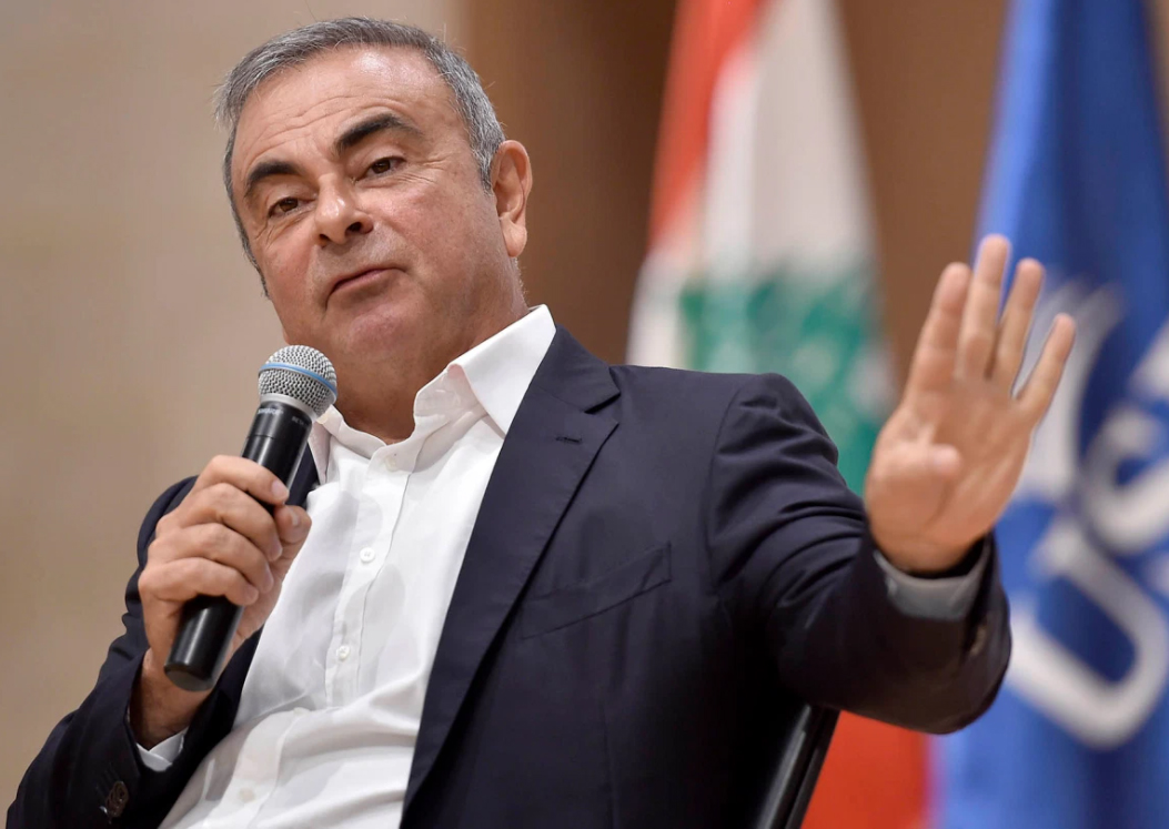 Carlos Ghosn speaks during a news conference in Lebanon today