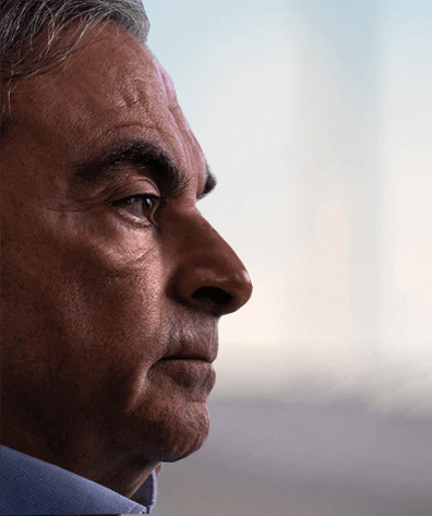 "Visage de Carlos Ghosn pour le documentaire ""L'ascencion et la chute de Carlos Ghosn"""