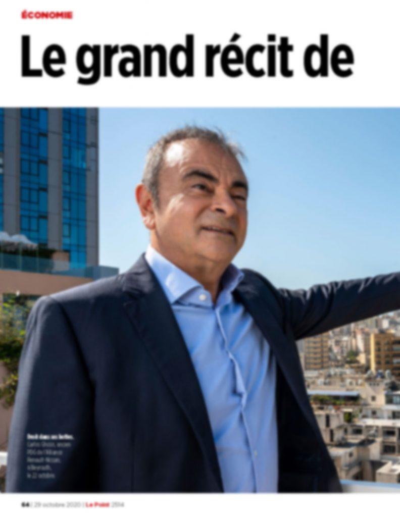 Interview de Carlos Ghosn pour Le Point - 29 octobre 2020  (copyright photo : AMMAR ABD RABBO/ABACAPRESS POUR « LE POINT, copyright texte : Marie Bordet pour Le Point)